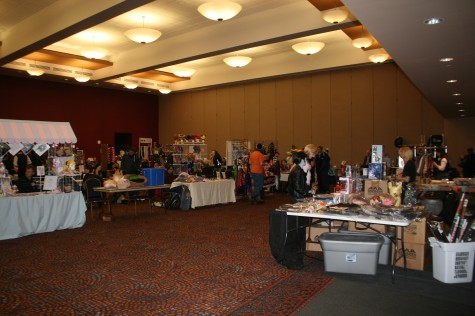 A portion of ZipCon tabling in the Student Union ballroom.