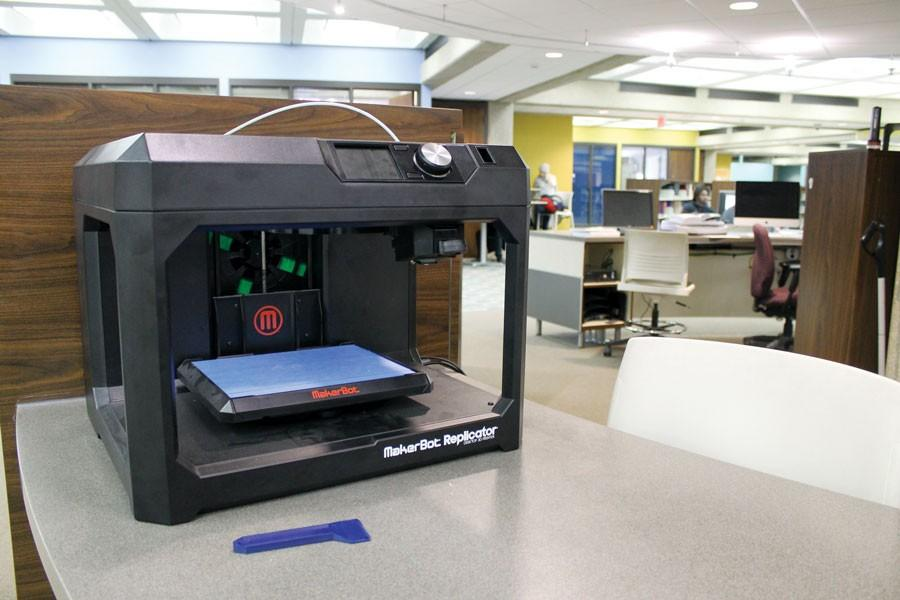 3D printer on the first floor of Bierce Library at the User Support Services desk.