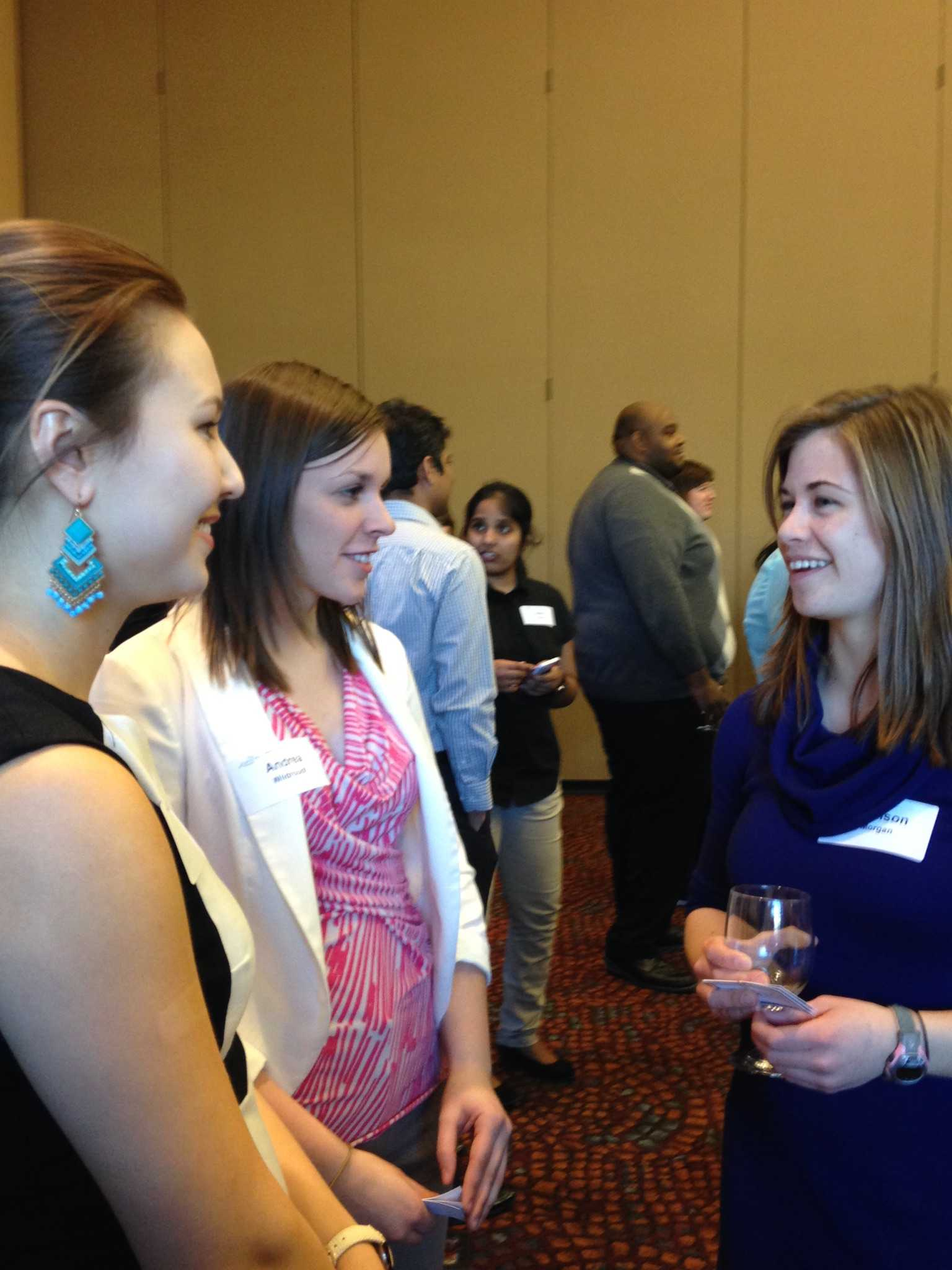Students take the opportunity to meet and greet with employers at the Etiquette Dinner.