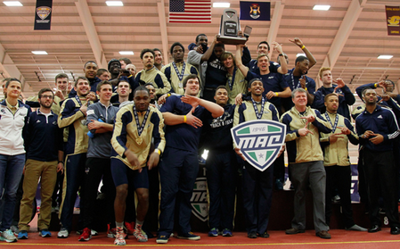 Men's track and field team after capturing the MAC title in Michigan.
