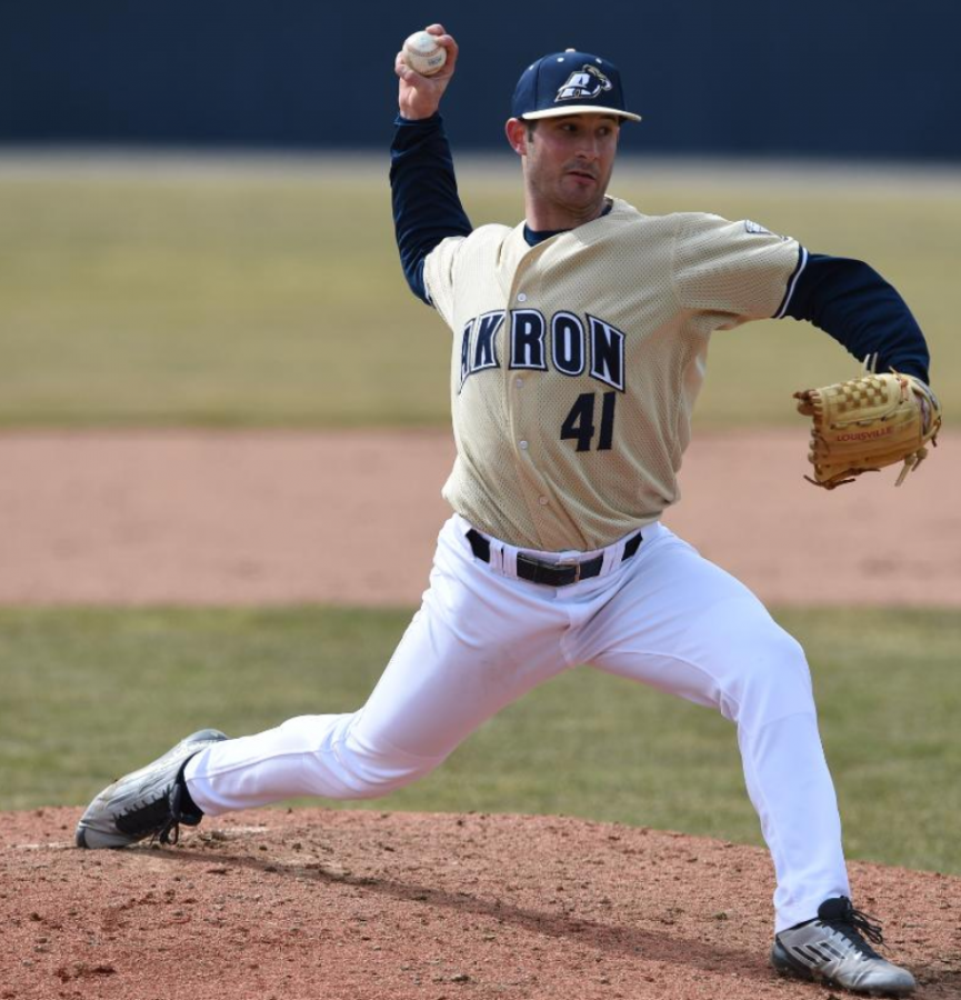 Former Zips pitcher Zak Knettel at the mound prior to the dissolution of Akron's baseball team following the 2015 season. (Photo courtesy of The University of Akron Department of Athletics)