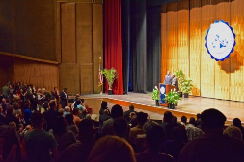 The audience gave Michael Dyson a standing ovation at the conclusion of his speech about the stereotyping of black males.