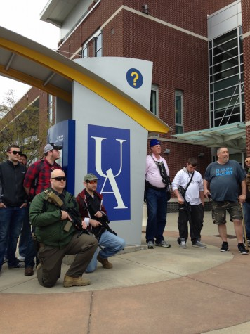 The advocates stopped for photos three times: The UA circle outside the Honors Complex, the Union, and Lock 3 Park in downtown Akron.