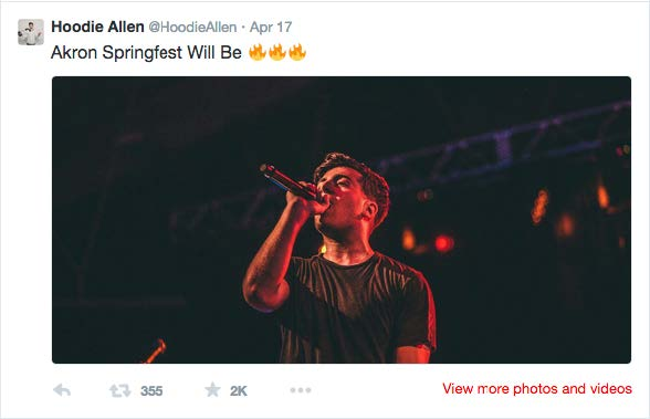 On April 17, Hoodie Allen confirmed the performance by his tweet.