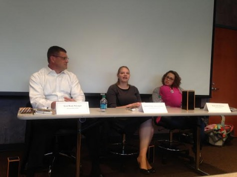 (From left) Alumni Scott Read, Jessica Forrest, and Kayla Hall speak at Tuesday's History Department panel discussion
