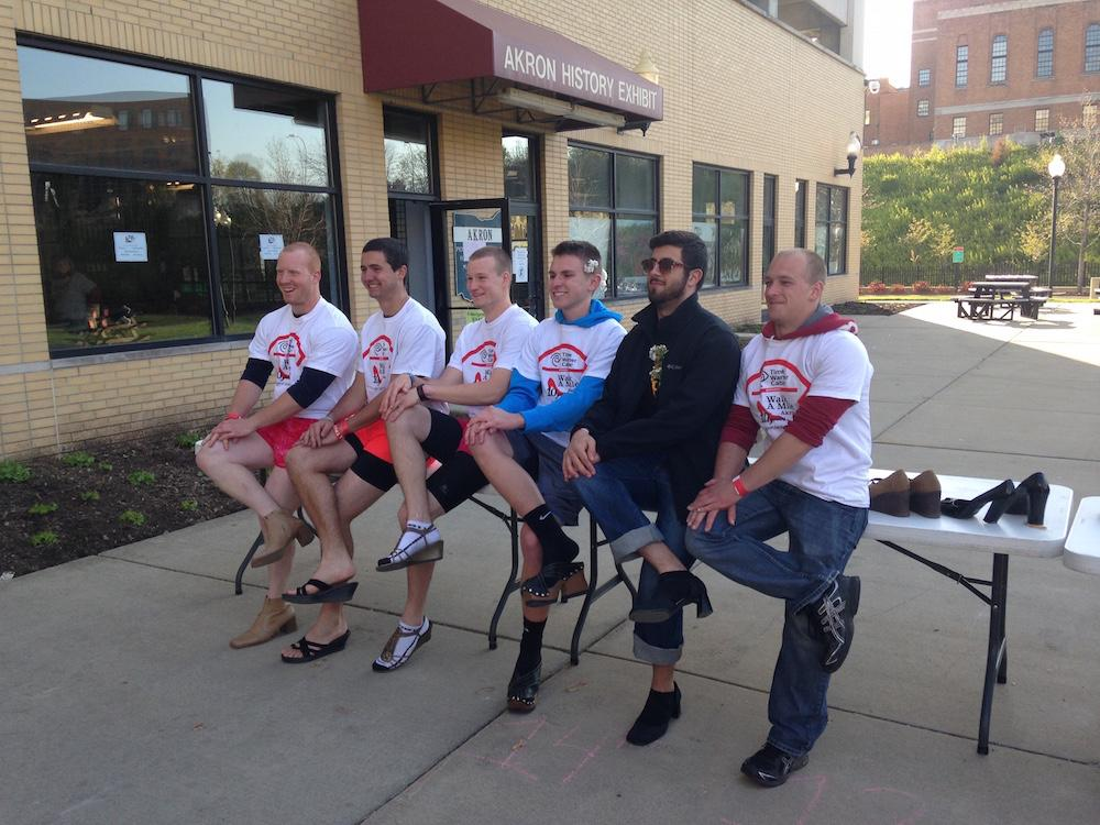 Men emulated women's footwear during the walk for sexual assault victims, hosted by the Rape Crisis Center.