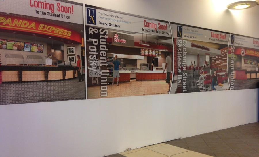 Current view of what was previously Ohio Burger in the Student Union. Other venue construction going on around campus.