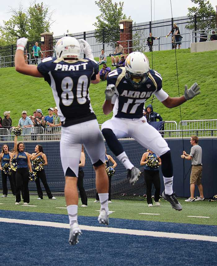 Andrew Pratt (80) and Anthony Young (17) celebrate a Zips score.