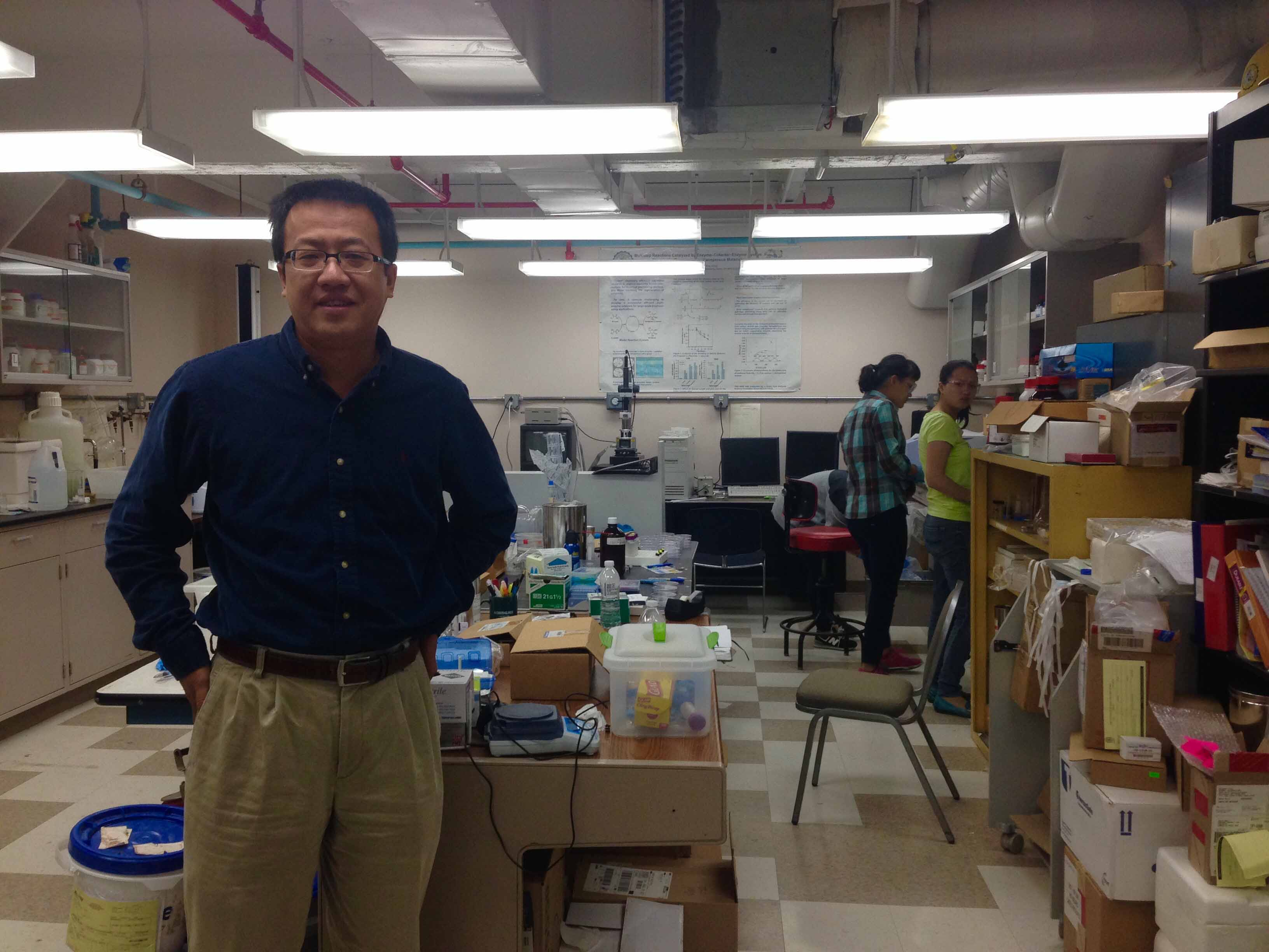 Associate professor of chemical and bimolecular engineering, Jie Zheng, in his lab at Whitby Hall.