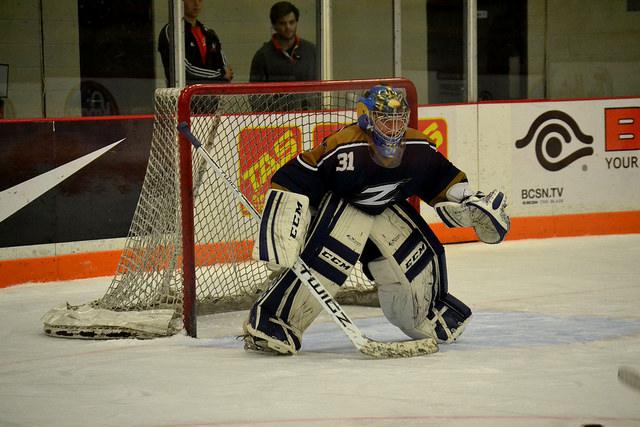 Zips goalie prepares to defend.