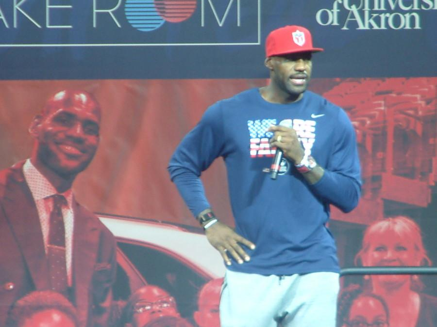 LeBron James talks to the students at James A. Rhodes Arena
