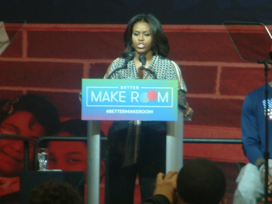 First Lady Michelle Obama talks about #BetterMakeRoom at James A. Rhodes Arena