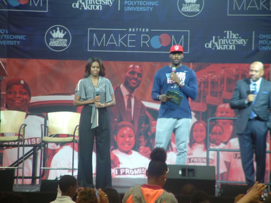 FIrst Lady Michelle Obama and LeBron James share the stage.