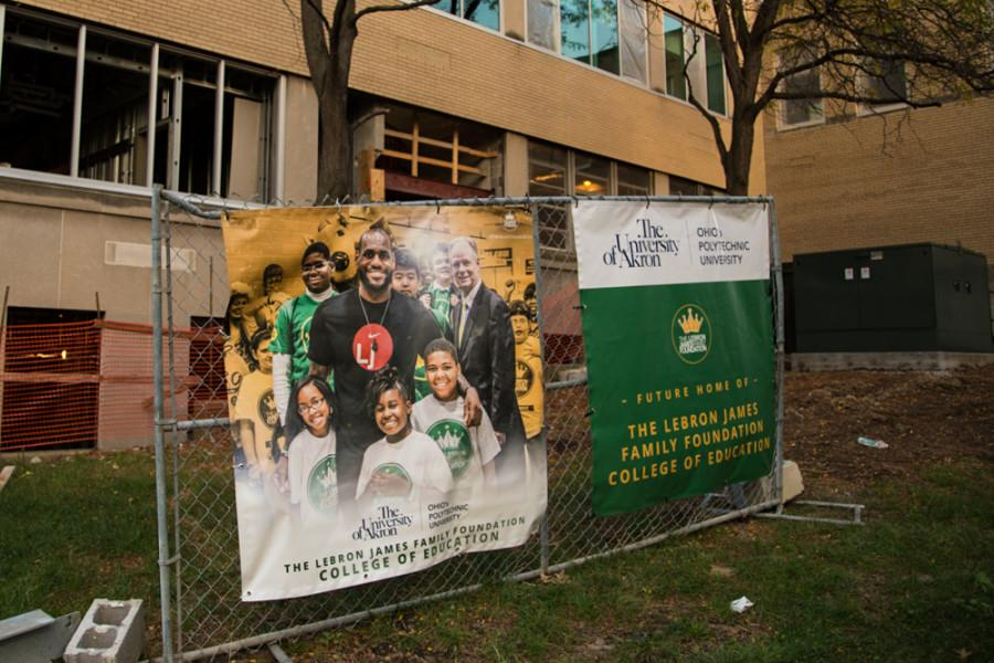 The LeBron James Family Foundation College of Education under construction.