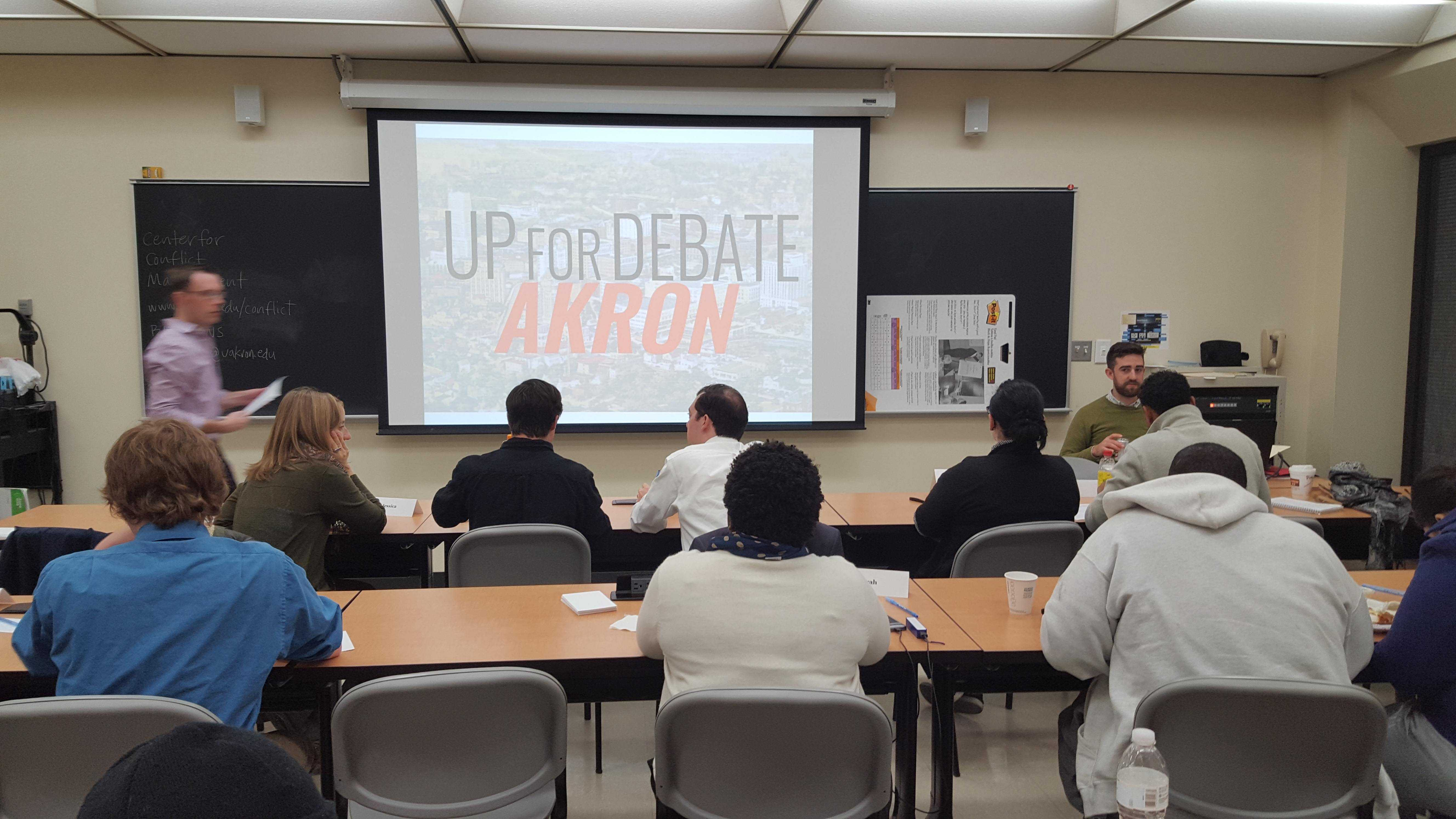 """Students gathered in Olin hall for the """"Up for Debate Ohio!"""" last Saturday."""