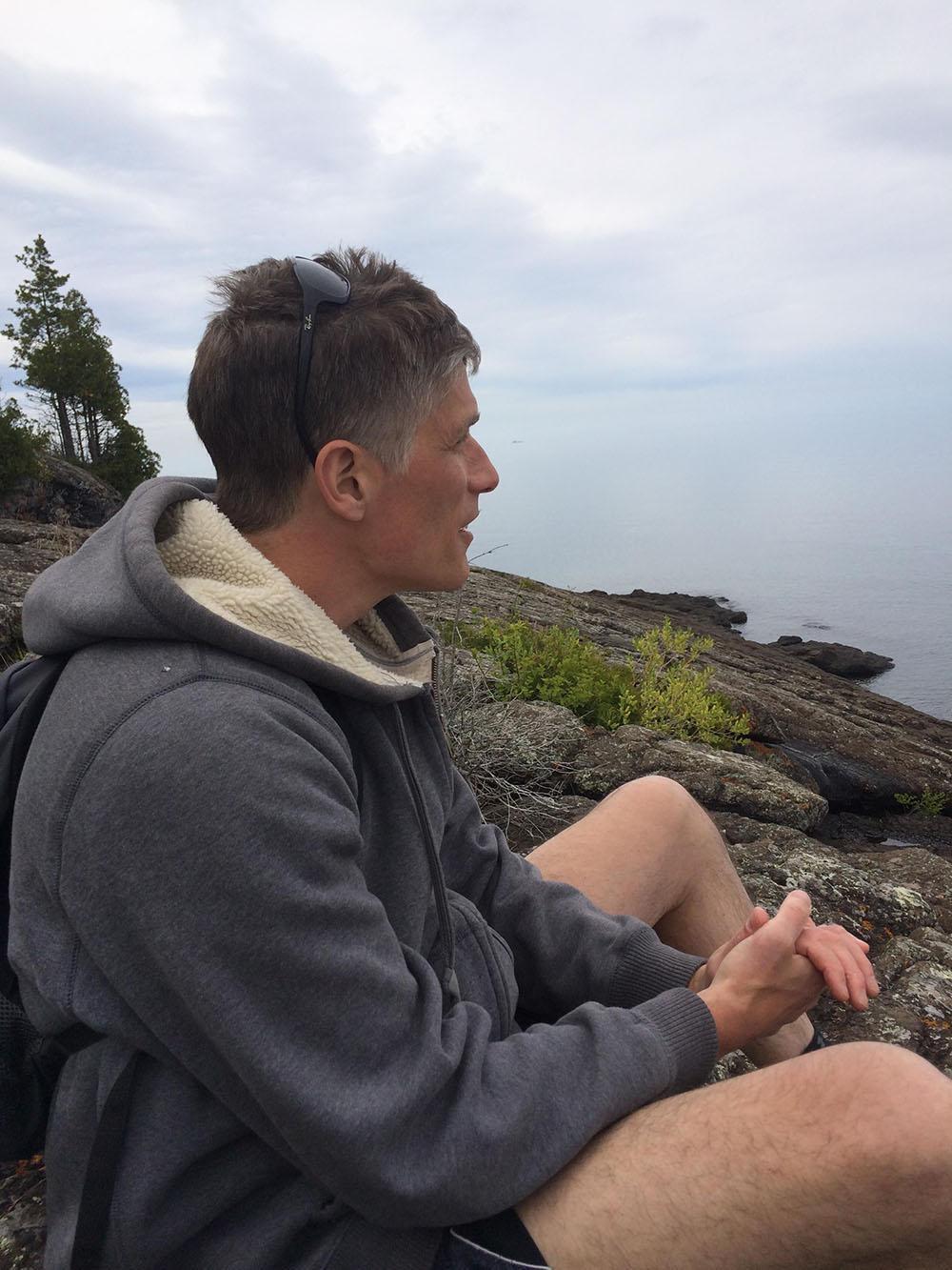 Alexis Rockman overlooks Lake Superior.
