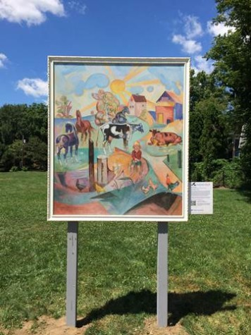 Bordner Mural by William Sommer, displayed at Boss Park as part of the trolley tour.