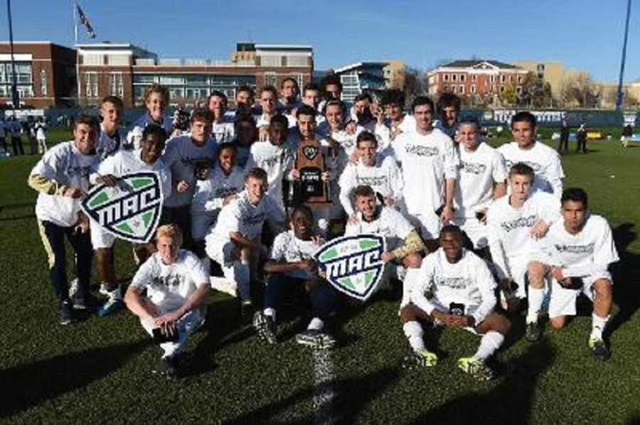 The University of Akron Zips after winning the 2015 Mid-American Conference men's soccer championship Sunday.