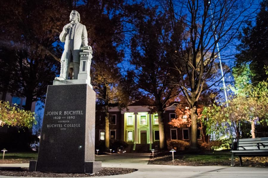 John Buchtel's statue looms in front of Buchtel Hall, where Larry Burns' office is located.