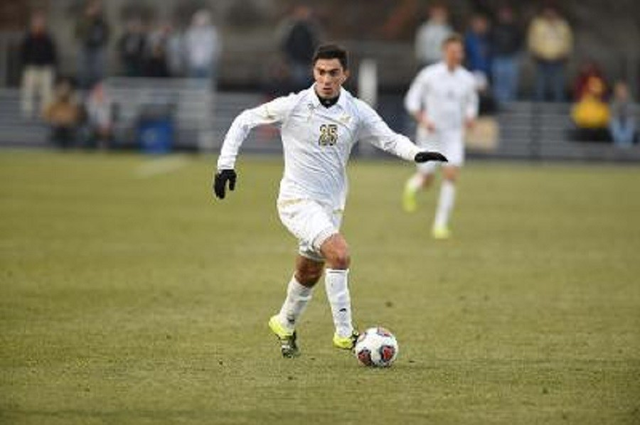 Goncalo Soares works the ball down the pitch against SMU.