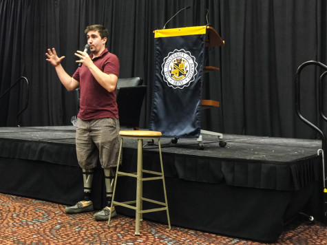 Jeff Bauman shares his story of recovery with students.