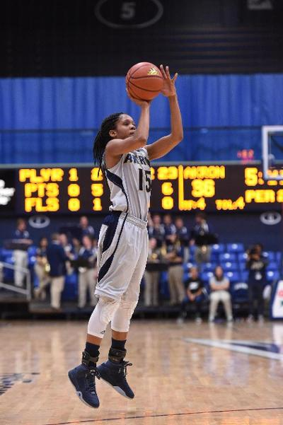 Anita Brown (15) scored 23 points in the Zips' win