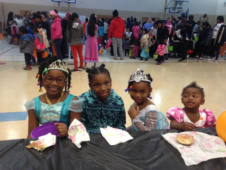 (From left) Trick or Treaters Sydney (7), Dayana (7), Symone (5), and Samya (2) enjoy some Halloween fun at Leggett CLC Thursday night.
