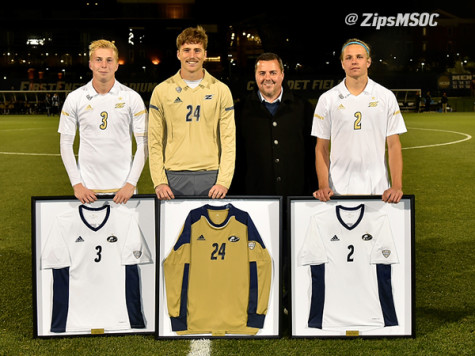 Men's soccer honored seniors Sean Sepe (3), Jake Fenlason (24), and Andrew Souders (2) pictured with Coach Jared Embick
