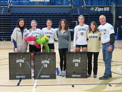 Women's volleyball honored Ashley Holder (7), Dragana Micic (14), and Kelsey Wilson (18)