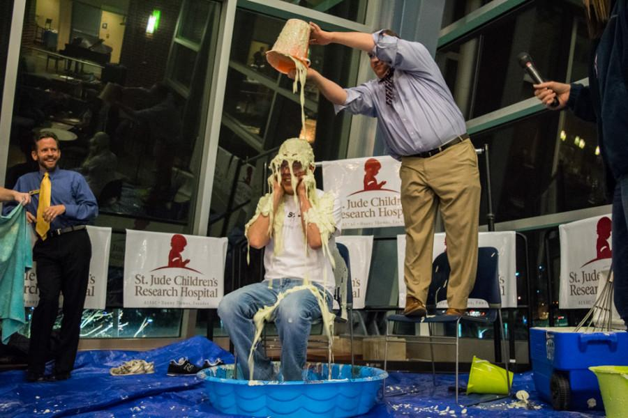 John Messina is slimed during the event by Zac Steiner.