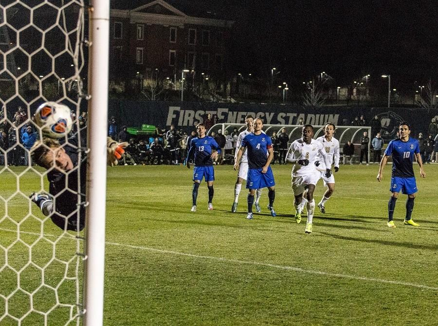 Adam Najem scores the winning goal in the second overtime on a free kick. The ball eludes  Creighton goalkeeper Connor Sparrow as Richie Laryea (6)  and Robbie Dambrot (22) look on.
