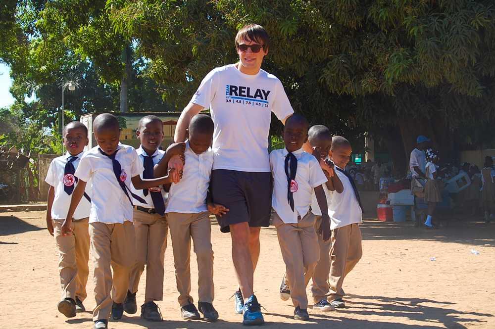 UA student Zach Kisor bonds with the Haitian students.