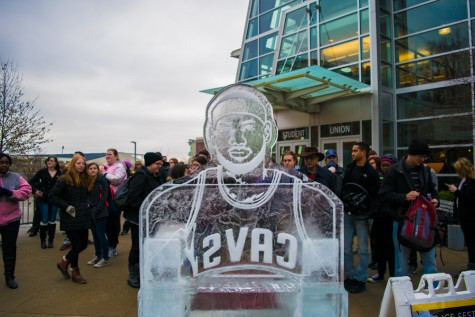 Students, alumni, faculty, and staff gathered to watch the competitors create frozen masterpieces during this year's Ice Fest.