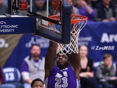 Isaiah Johnson led the Zips in rebounds Saturday night.