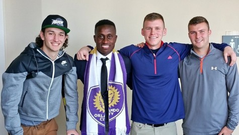 (Left to right) Robby Dambrot, Richie Laryea, Brad Ruhaak, and Bryce Cregan at the 2016 MLS Super Draft.