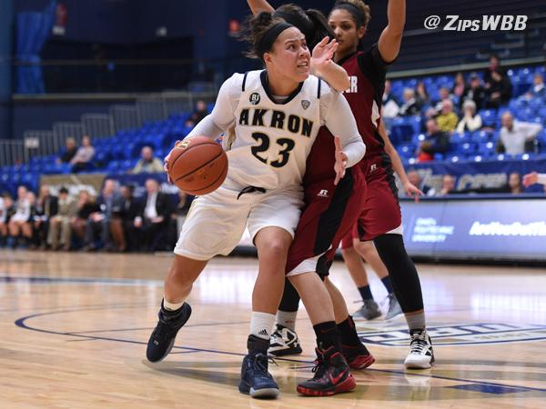 Senior DiAndra Gibson led the Zips with 10 rebounds Wednesday night.