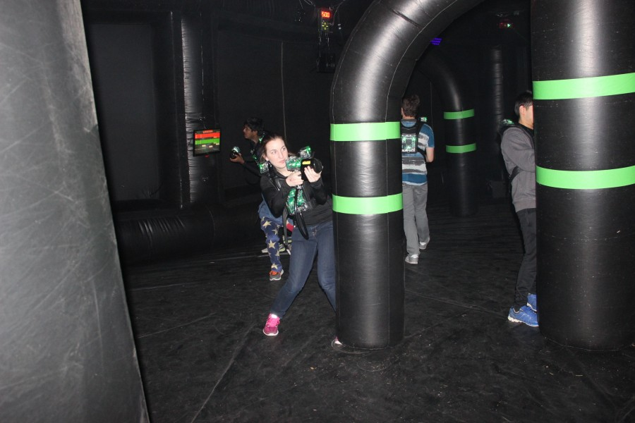 UA+student+Rachel+Graham+takes+part+in+a+laser+tag+tournament.