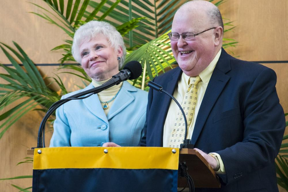 UA alumni Pamela and Gary Williams give introductory remarks at yesterday's Honors College ceremony.