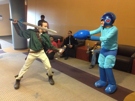 Attendees cosplay as Link (left) and Mega Man (right) in the Student Union.