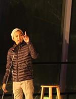 Poet Asia Samson recites a poem.