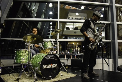 The local jazz band called Blu Pi plays music at Starbucks during ZPN's event for Black History Month.