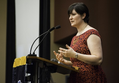 Women's rights activist, Sandra Fluke, speaks in the Union Ballroom on March 9.