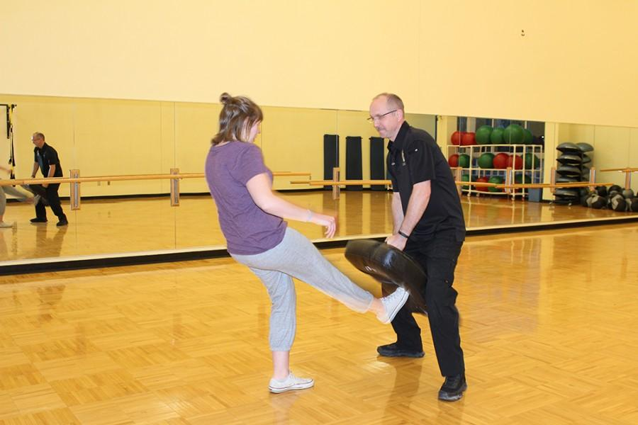 UA student learns new self-defense techniques in a class at the Rec.