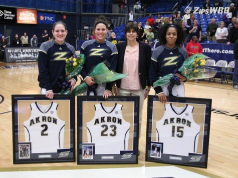 Pictured L to R: Seniors Megan Barilla, Anita Brown and DiAndra Gibson celebrated their last regular season game with a win against the Falcons.