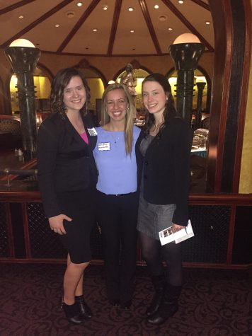 Left to right: Hali Strub, Kristin Genetin, Bayli Strub, members of PSE pose for a photo after dinner.