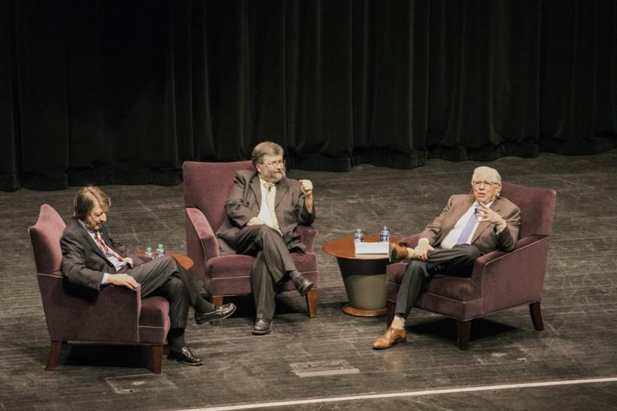 P.J. O'Rourke (left), John Greene (middle), and Carl Bernstein (right) talk politics, news and candidates at E.J. Thomas Hall last Thursday.