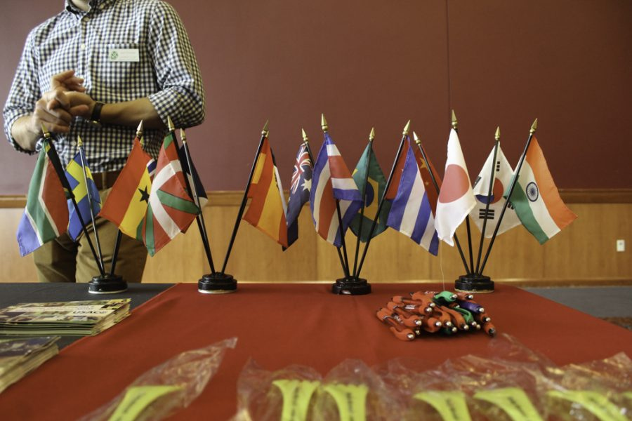 One of the tables at the Study Abroad fair.