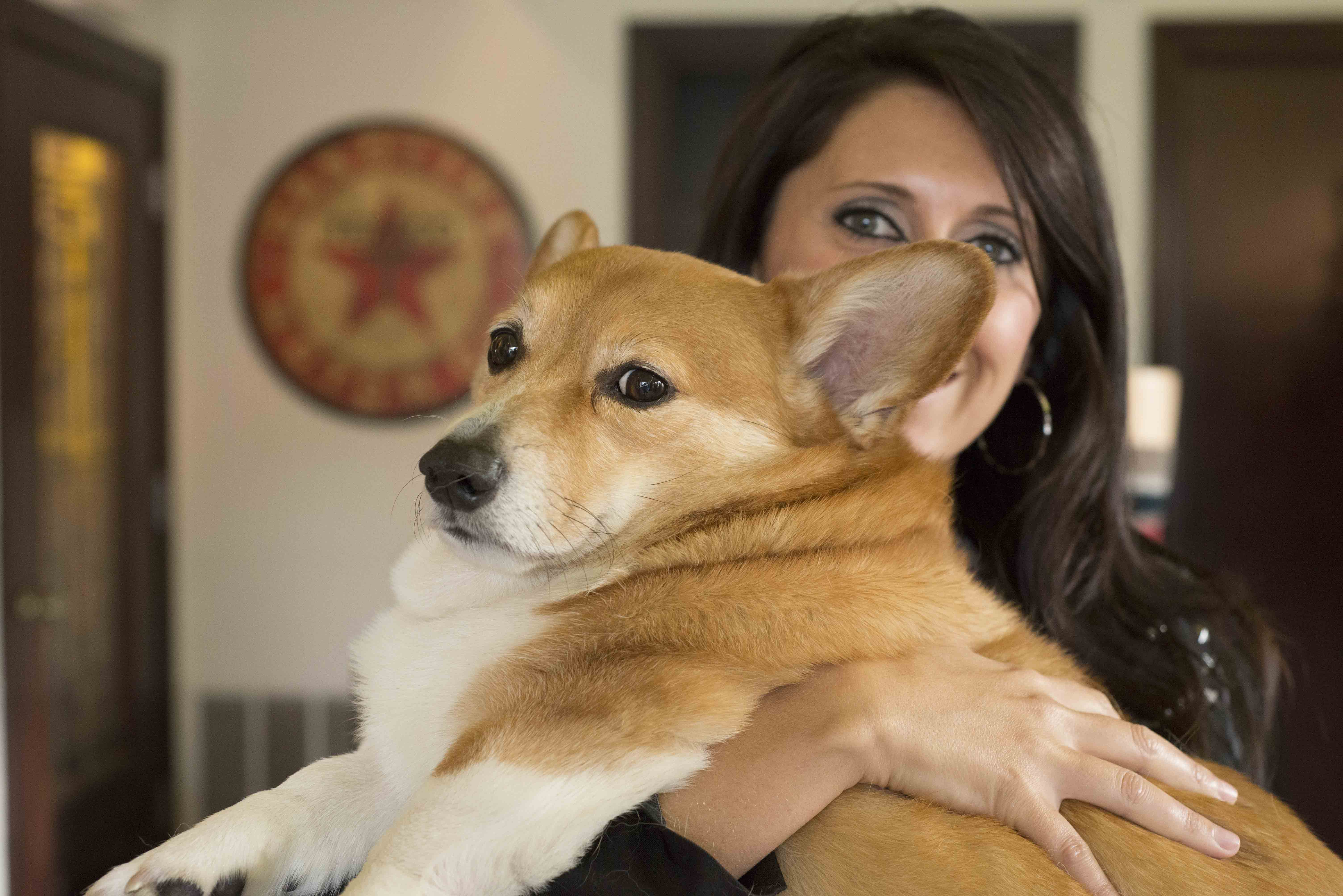 Owner Suzie Pruitt holder her corgi Huey at Ely Road Boutique.