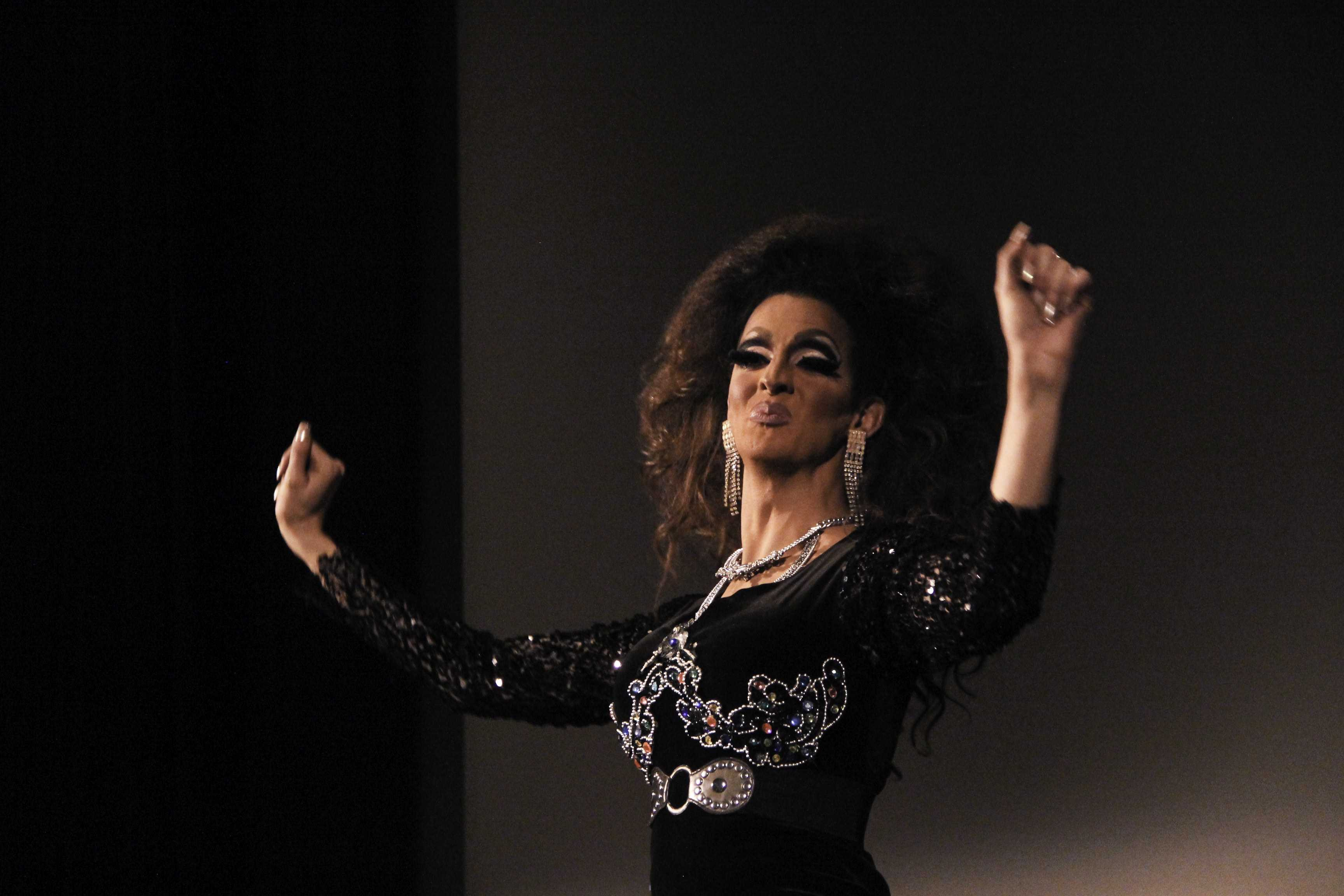 Local Akron drag queen Malibu Peru performed in the Student Union Theater on Tuesday as part of National Coming Out Day.