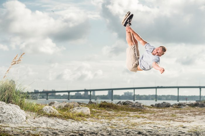 Tricker Bailey Payne does a flip in Tampa, Florida.